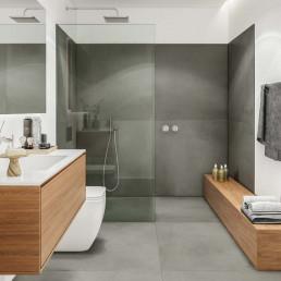 Los baños ofrecen una estética contemporánea